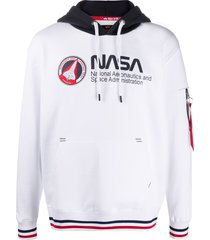 alpha industries logo print cotton hoodie - white