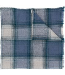 isabel marant checkered cashmere-wool scarf - blue