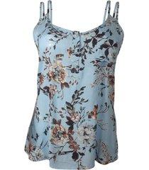 blusa nino danieli regata com estampa floral cmfv80186 azul celeste - verde oliva - feminino - dafiti