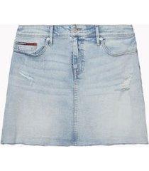 tommy hilfiger women's distressed denim skirt light summer storm - 24