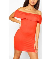 petite off the shoulder frill bodycon dress, orange