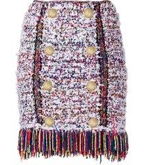 balmain bouclé tweed mini skirt - white