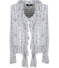 balmain lurex boucle knit jacket with fringes