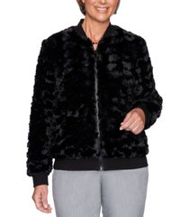 alfred dunner petite faux-fur well red bomber jacket