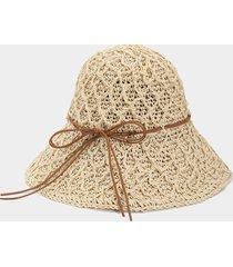 sombrero con visera de paja bowknot decor