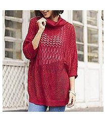 pullover sweater, 'evening flight in red' (peru)