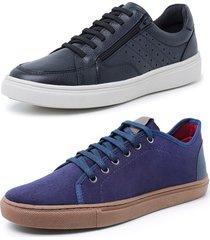 kit 2 sapatenis sandalo soft preto e levit azul