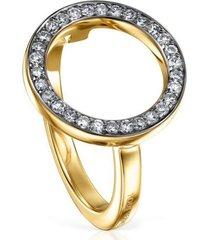 anillo tous nocturne disco de plata vermeil y diamantes 918445541