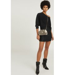 reiss anna - metallic knitted dress in black, womens, size xl