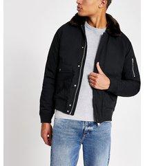 mens schott navy faux fur collar jacket