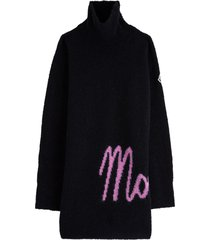moncler high neck wool dress with contrasting logo