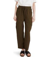 women's madewell huston tapered cargo pull-on crop pants, size medium - green