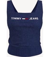 tommy hilfiger women's square neck tank sweater blue depths - m