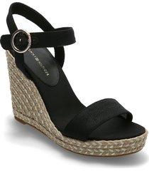 th signature high wedge sandal sandalette med klack espadrilles svart tommy hilfiger