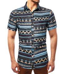 camisa estampada con estampado tribal negro suave de algodón casual para hombres