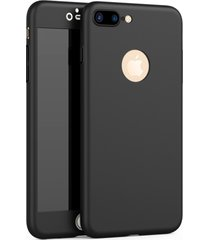 iphone 7 plus 360 full body cover shock defense case with glass screen (black)