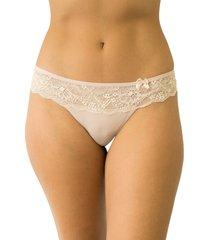 calcinha fio luz duplo com renda qtal lingerie básico bege