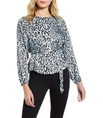 women's rebecca minkoff angelina leopard print tie waist blouse