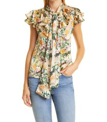 alice + olivia jeannie floral burnout bow collar blouse, size x-small in romance almond at nordstrom