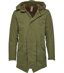 classic hooded parka with teddy and mesh lining parka jas groen scotch & soda