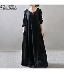 zanzea elegante de las mujeres vestido de señora con cuello en v manga larga bolsillos de camisa de vestir informal plisado sólido suelto maxi largo retro vestidos (negro) -negro