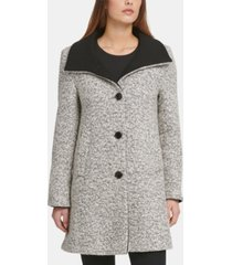 dkny petite boucle single-breasted coat, created for macy's