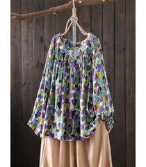 camicetta vintage a maniche lunghe con stampa floreale plus