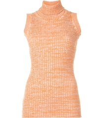 anna quan andi turtleneck knitted top - orange