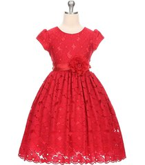 red floral lace cap sleeve flower girl party pageant birthday formal dress
