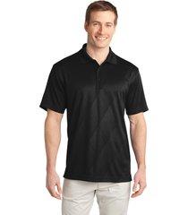 port authority k548 men's tech embossed polo shirt - black