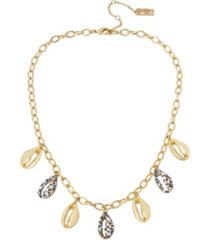jessica simpson women's puka shell frontal necklace