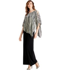 connected metallic cape overlay jumpsuit, created for macy's