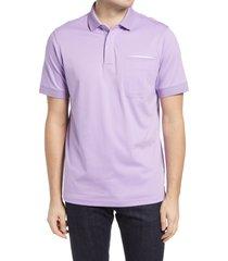 men's bugatchi pima cotton short sleeve polo shirt, size x-large - purple