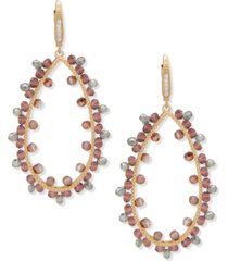 lonna & lilly gold-tone pave & bead open drop earrings