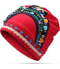 berretto di cotone etnico ricamato da donna cappello da berretto traspirante elastico vintage