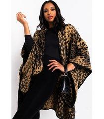 akira so raven cheetah tie wrap poncho
