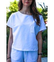 letnia biała bluza z krótkim rekawem