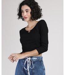 blusa feminina cropped canelada com aviamento manga 3/4 decote redondo preta