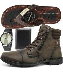 kit bota sapatofran coturno masculino + relógio + chinelo + carteira masculino - masculino
