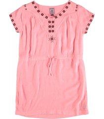 retour neon pink linnen viscose jurkje