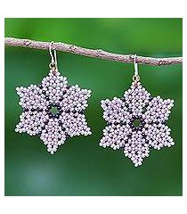 beaded dangle earrings, 'unique creation in lilac' (thailand)