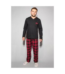 pijama hygge homewear flanela preto e vermelho calça e blusa manga longa preta masculino