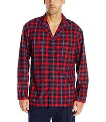 nautica men's long sleeve button down cozy fleece pajama top, red, m