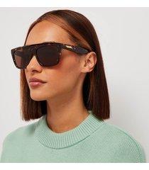 bottega veneta women's flat arch sunglasses - havana/brown