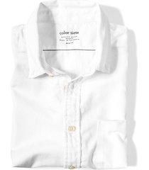 camisa manga corta color siete para hombre  - blanco