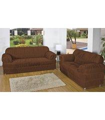 capa de sofá brastuca 2 peças 21 elásticos marrom