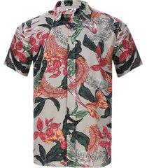 camisa estampada hojas colores color café, talla l