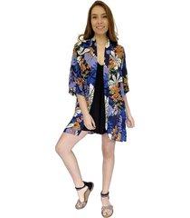 kimono sol azul flores natalia seguel