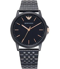 interchangeable stainless steel & leather-strap watch