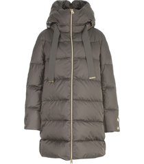 herno hooded padded jacket w/satin details